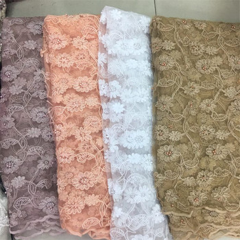 2019 High Quality African Lace Fabric Organza French Net Embroidery beads pink Tulle Lace Fabric For Nigerian Party Dress