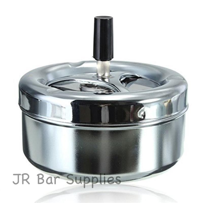 Free Shipping 11cm Round Push Down Cigarette Ashtray with Spinning Tray