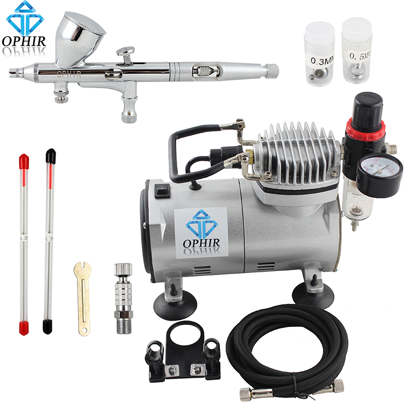 OPHIR 3Tips 0.2mm 0.3mm 0.5mm Dual-Action Airbrush with PRO Air Compressor for Nail Art Makeup Model Paint Air Brush_AC089+AC070 ophir 3 tips dual action airbrush gravity paint air brush with 110v 220v air tank compressor for nail art body paint ac090 070