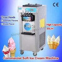 Verticale Ice Cream Maker Colorato Blu Rosa Morbido Gelato Macchina Tre Teste con Ruote Universali 220 V In Acciaio Inox