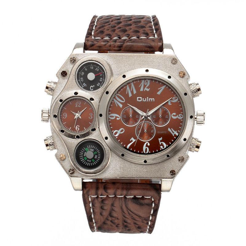 Prix pour Oulm mens designer montres de luxe montre mâle quartz-montre 3 petits cadrans décoration bracelet en cuir montre-bracelet relogio masculino
