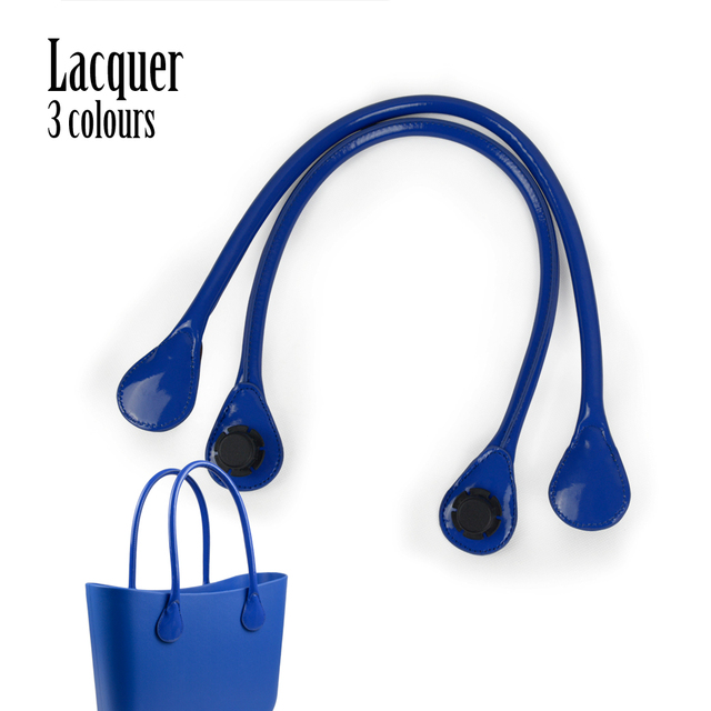 New Short Long 3 Colors Pu Faux Leather Shiny Lacquer Handles for Obag  Classic Mini O Bag Women's Bags Shoulder Handbag O Bag