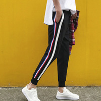 Men Ankle Length Trousers 2017 Summer And Autumn Student Male Stripe Trend Casual Slim Beam Of