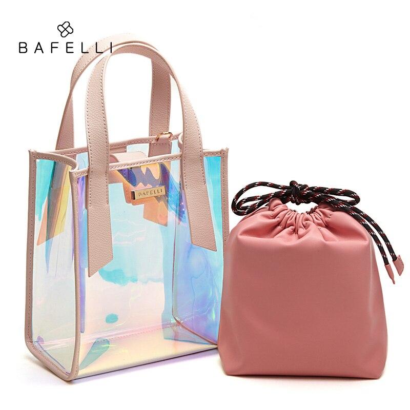 BAFELLI Women Transparent Handbag Clear Jelly Messenger Bags Laser Holographic Shoulder Bags PVC Pu leather Tote цена и фото