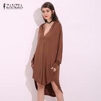 ZANZEA 2017 Fashion Women Solid Loose Dress Elegant Ladies Sexy Deep V Neck Long Sleeve MIni