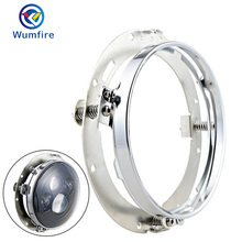 "WUMFIRE Black 7 inch"" Round Mounting Bracket Moto/Car Headlight Ring Mount for 7Inch Motorcycle Harley accessories"""