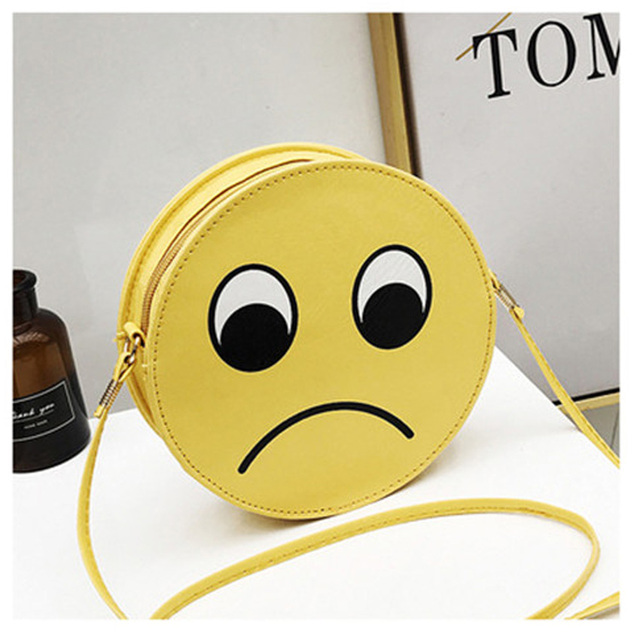 2018 New Emoji Women Crossbody Bags Leather Smile Messenger Bag Girls Round  Handbags Cute Roll Small