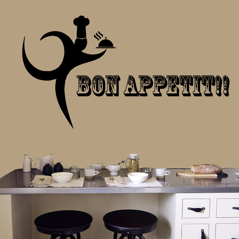 Bon Appetit Wall Stickers Kitchen Decoration Phrase Words Chef Server Cooking Pvc Wall Decals Decor Removable