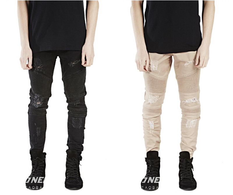Mens Skinny Jeans Men Runway Distressed Slim Elastic Jeans Denim Biker Jeans Hip Hop Pants Acid Washed Jeans For Men Khaki black