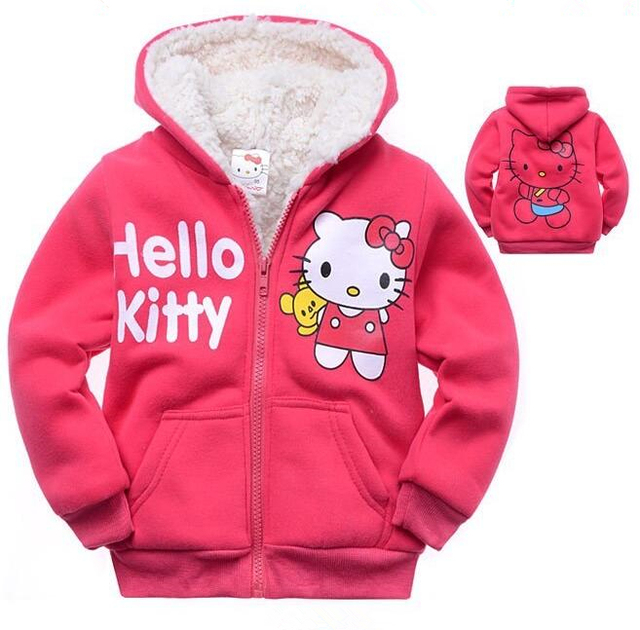 b437f250a New Winter Girls Jacket Hello Kitty Cartoon Coat Cotton-Padded clothes  Children's Keep Warm Coat Kids Clothes