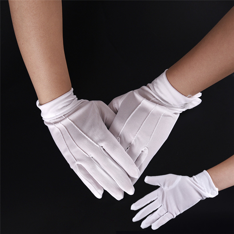 White Cotton Gloves Formal Work Uniform Catering Uniforms Magician Parades Inspection Five-fingers Women Men's Work Gloves