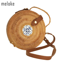 Meloke 2019 high quality handmade rattan round shapes shoulder bags fashion leather strap bags straw beach bags 2 size