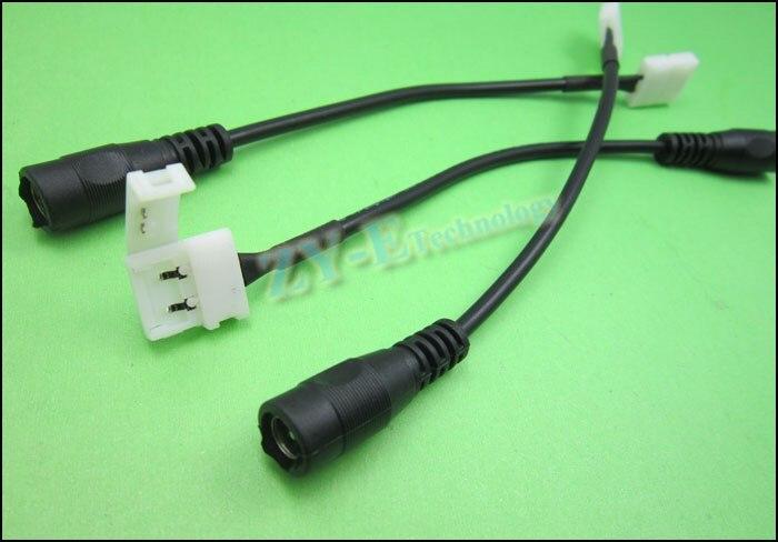 10 шт./лот 5,5x2,1 мм led DC разъем для 2pin полосы разъем питания адаптер с 14 см кабель для 3528 5050 полосы бесплатно