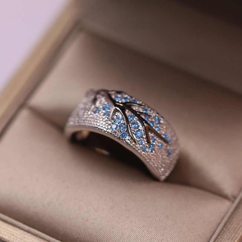 คุณภาพสูง 925 แหวนเงินผู้หญิงผู้ชายสีเขียวใบ Tree of Life คริสตัลแหวนงานแต่งงานเครื่องประดับขนาด 5-11 Dropship