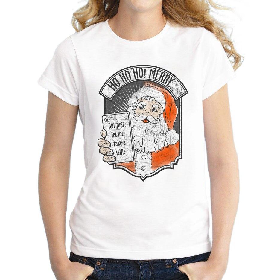 2017 Funny Women Santa Selfie T Shirts Christmas Tops Novelty Fashion T-Shirt Short Sleeve Retro Printing Tee
