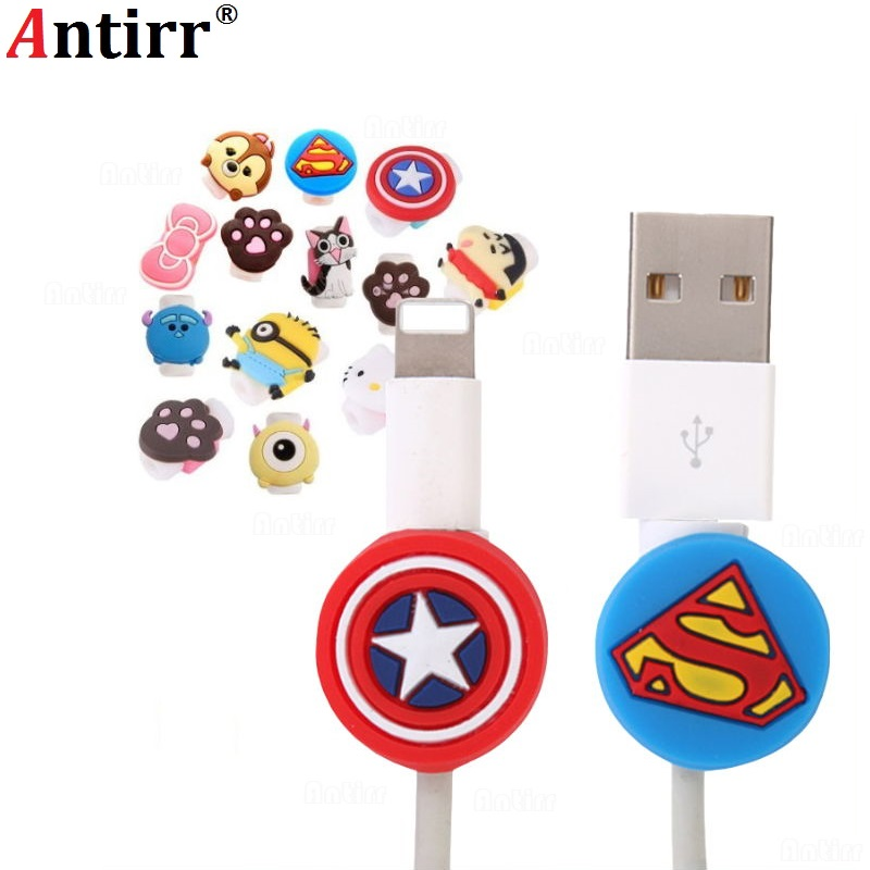 Cute Cartoon USB Charger Cable Winder Protective Case Saver Earphone Cord Wire Cover Data Line Protector For Apple Iphone 8 Plus