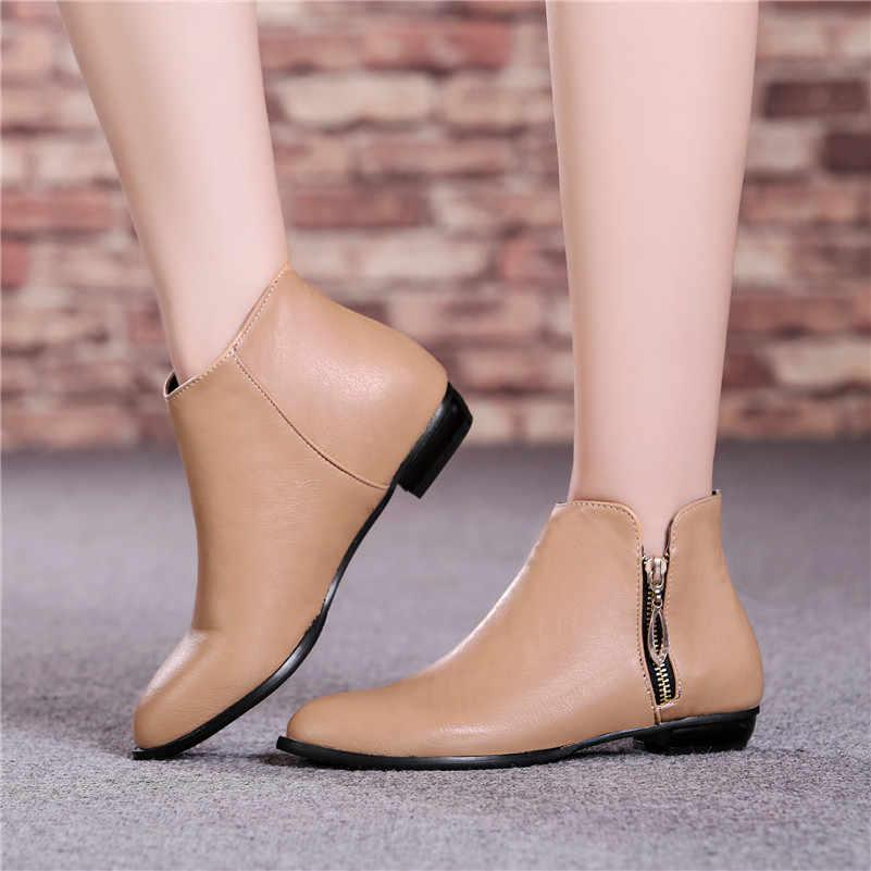 Büyük boy 34-45 kadın martin çizmeler Fermuar Yeni sonbahar kış çizmeler Moda Topuklu el yapımı ayak bileği kısa çizmeler Çizmeler rahat ayakkabılar