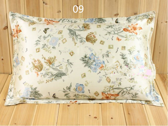 100% Mulberry Silk 16 mm Pattern Printed Double Pure Silk Pillowcases 74 X 48 cm Standard Type 2 pieces On Sale