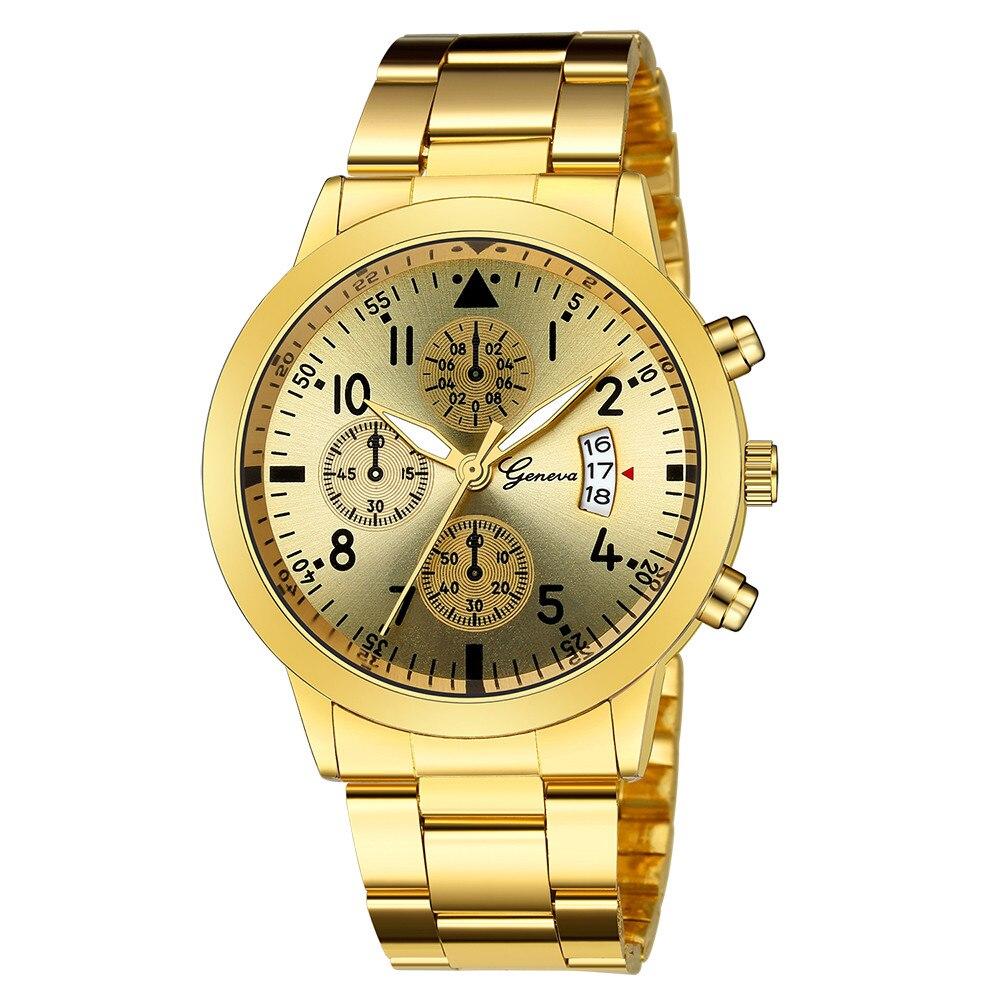 Golden Watches Luxury Quartz Wristwatch For Women Men Unisex Lovers Couple Watch Clock Sport Stainless Steel Watchband Casual