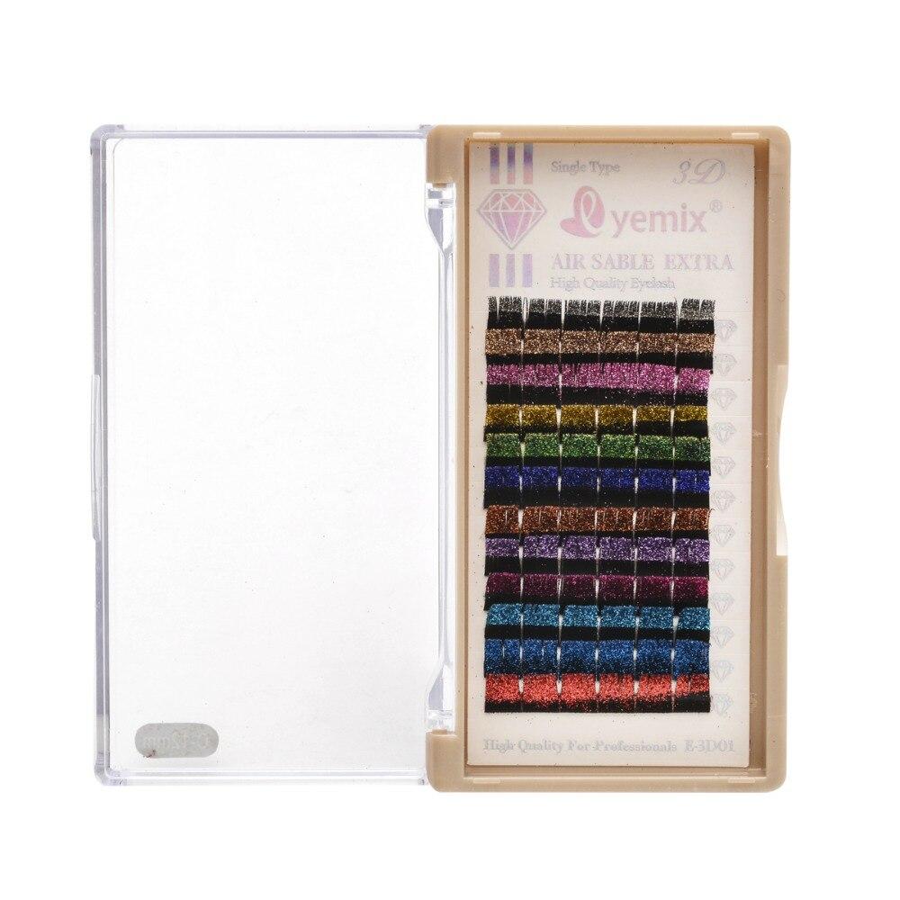 Free Shipping 12 Colors Glitter Individual Eyelash Mink Eyelash Extension 0.15 Thickness 10mm 12mm 14mm False Eyelash
