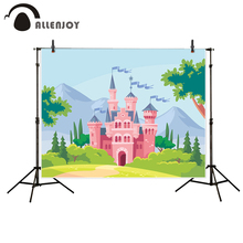 Allenjoy photography backdrop Pink Castle Green Trees Forest Hill Fairy tale Style background photo studio camera fotografica