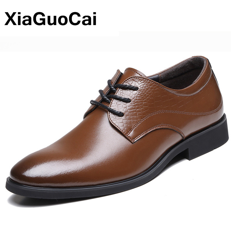 XiaGuoCai Fashion Luxury Business Men Dress Shoes Oxfords High Quality Point Toe Lace Up Handmade Casual Leather Shoes For Male