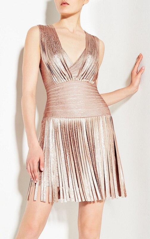 4 couleurs Top qualité HL célébrité col en v or et rose or gland rayonne Bandage robe de soirée robe de mode