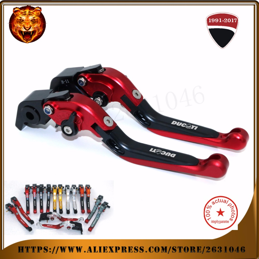 For DUCATI Diavel/carbon 1199/899 Panigale 1198 1098/S 848/evo red  Motorcycle Adjustable Folding Extendable Brake Clutch Leve motorcycle tail tidy fender eliminator registration license plate holder bracket led light for ducati panigale 899 free shipping