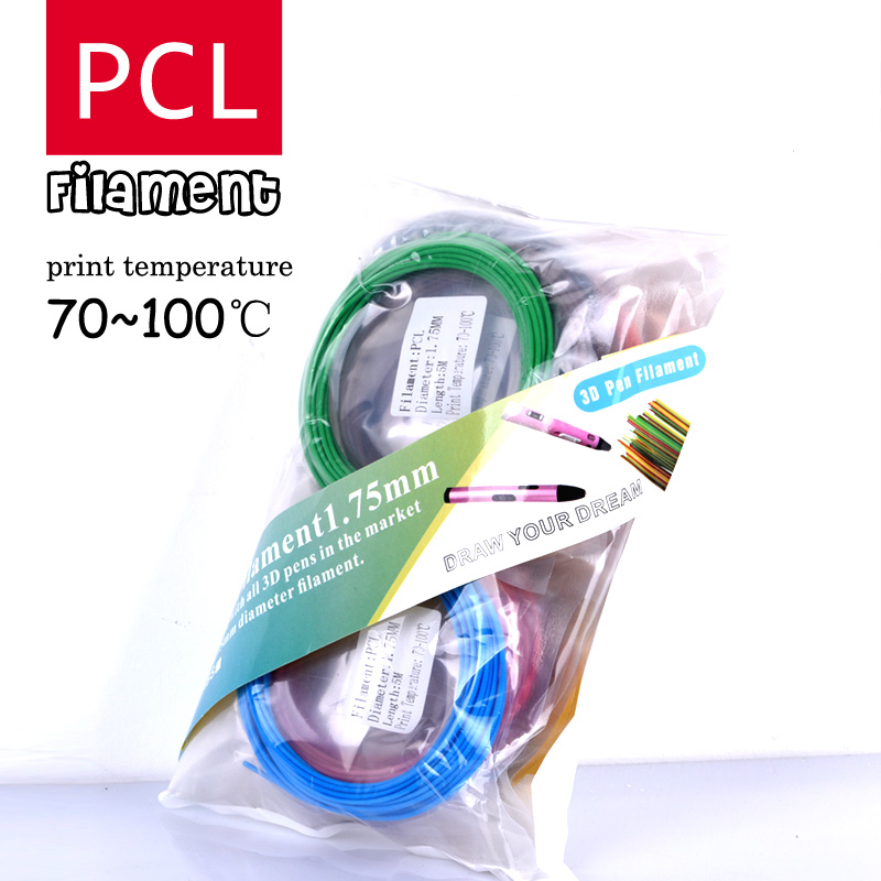 3d pen low temperature filament PCL plastic 1.75mm 3D Printer Filament Materials (5M/color 100M and 150Meter) Cryogenic material