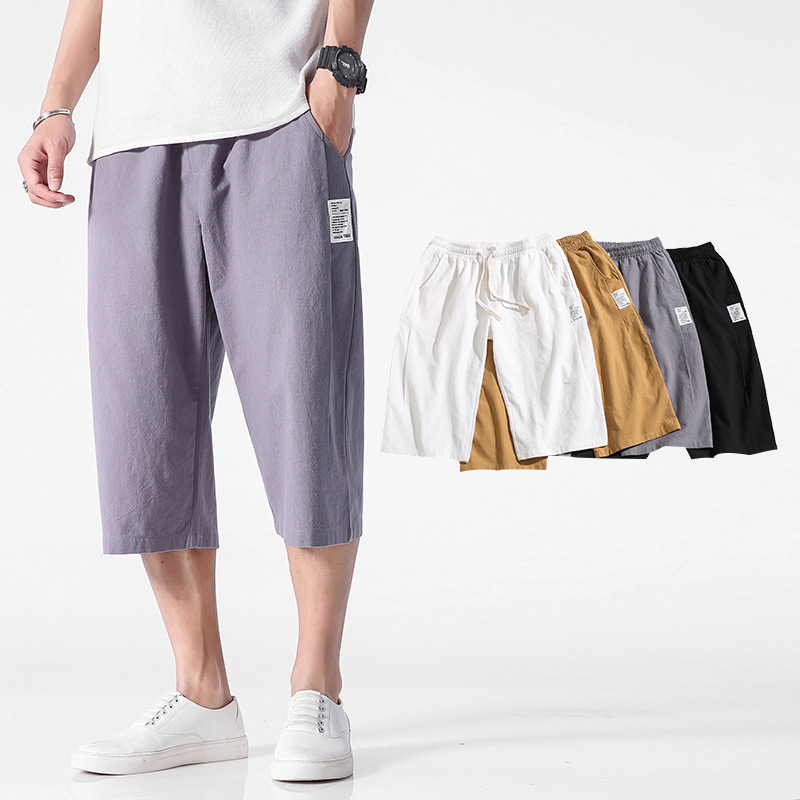 Men Pants Elastic Thin Loose Fashion-Style Men's Cotton Plus-Size Summer Casual New Section
