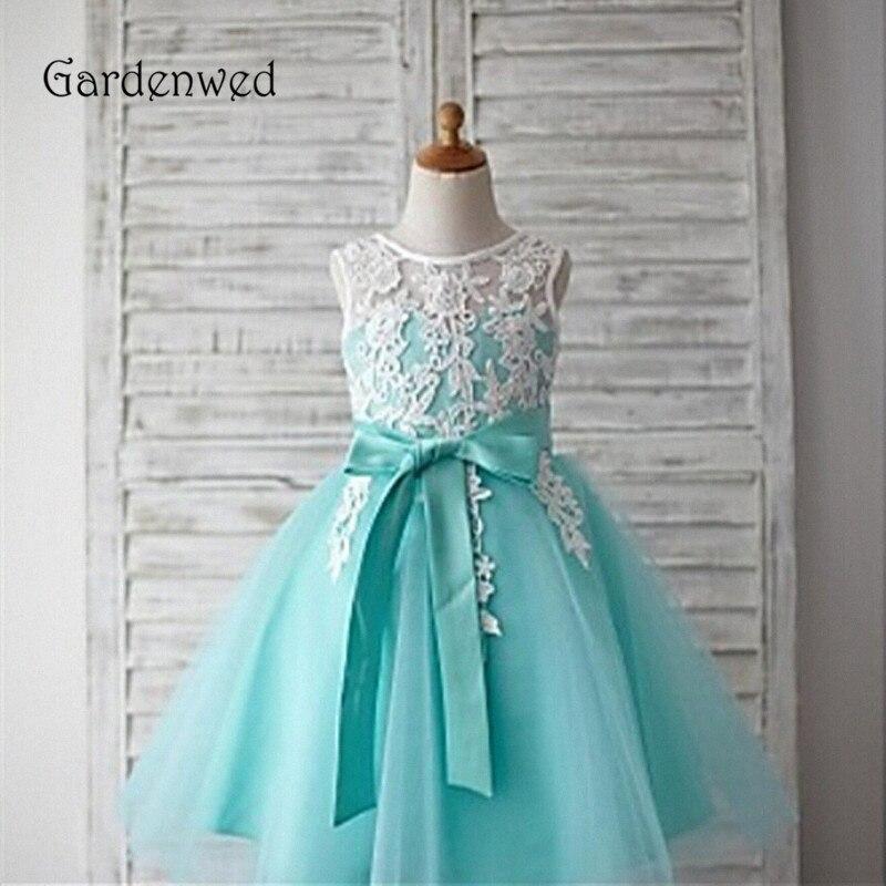 Gardenwed Mint Flower Girl Dress 2019 Baby Dress Top Lace Appliques Bow Knot Sash Little Girls Kids Dress Wedding Pageant Gown