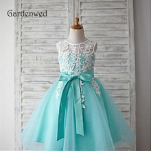 Gardenwed Mint Flower Girl Dress 2019 Baby Dress Top Lace Appliques Bow Knot Sash Little Girls Kids Dress Wedding Pageant Gown недорого