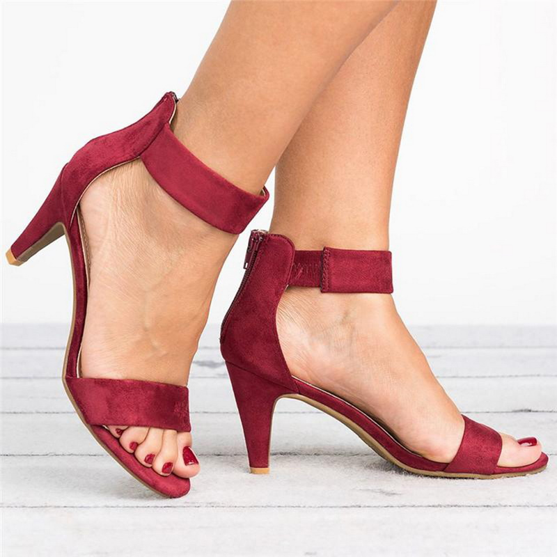 Summer Shoes Sandals Female Open-Toe Plus-Size Woman with 5CM High-Heels 43/thin Mujer