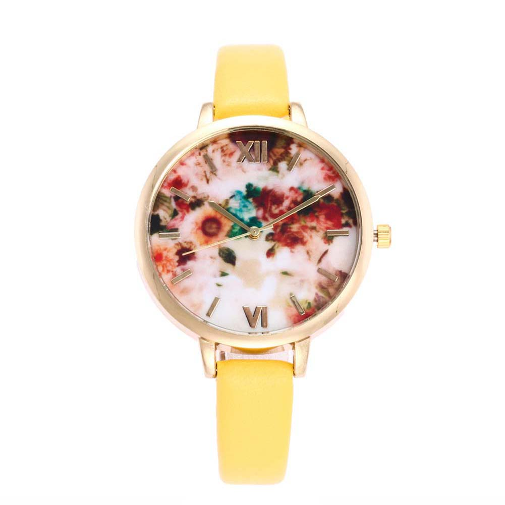 New Women Slim Watch Clock Thin PU Leather Strap Analog Quartz Wristwatch Sunflower Pattern Watches Lady Birthday Gift  LL@17 analog watch