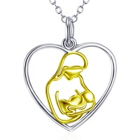 GNX11958 100 Real Pure 925 Sterling Silver Love Heart Necklace Mom Hold Child Gold Color Pendant