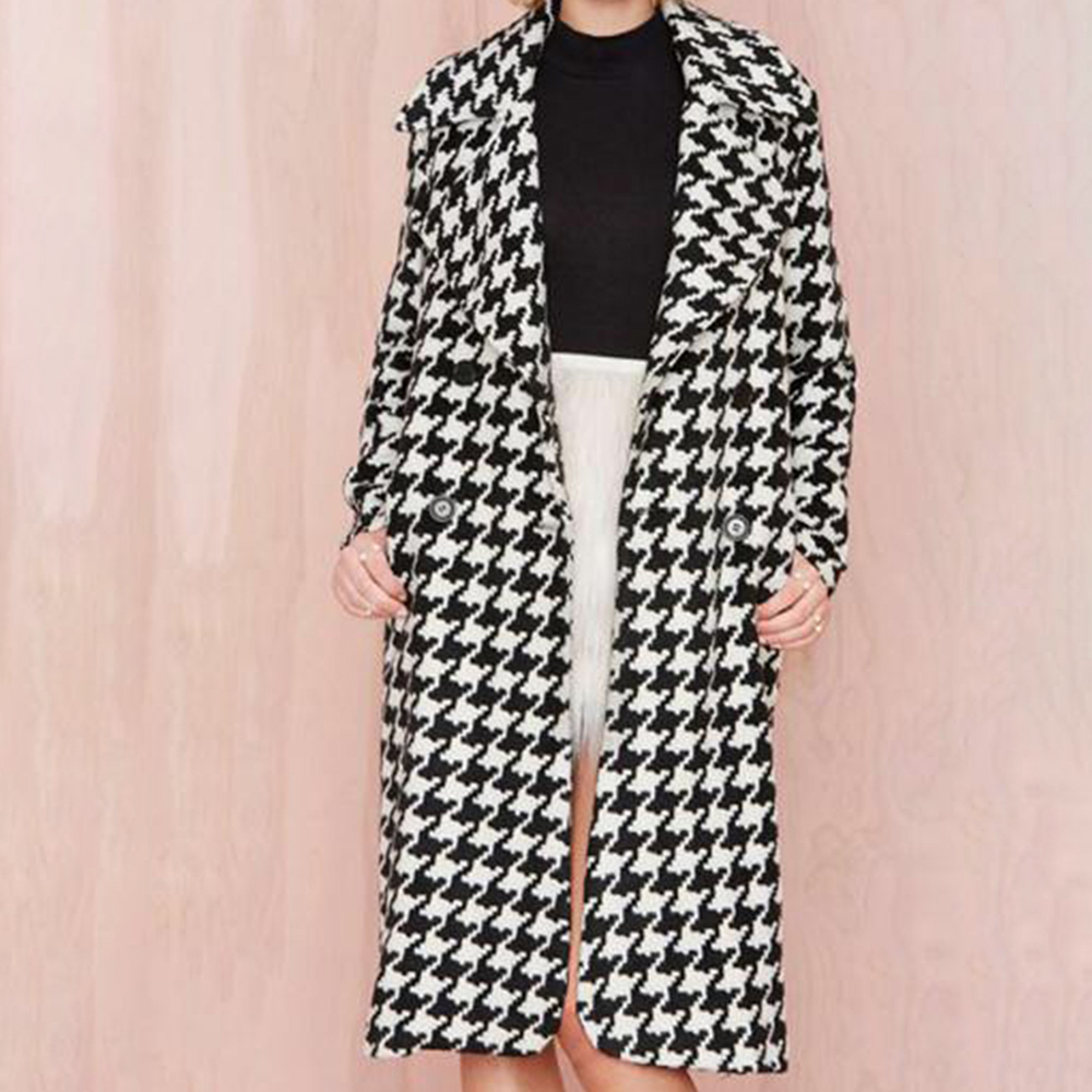 2018 new autumn women trench long overcoat straight houndstooth wool double-breasted long sleeve turn-down collar fashion coat