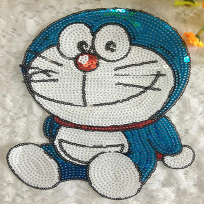 Embroidered appliqued iron on patches for clothes cartoon Doraemon sequins deal with it clothing DIY Motif Applique iron-on