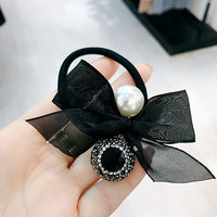Adult Fashion Sweet Bow Crystal Rhinestone Scrunchie Elastic Hair Bands Ponytail Ties for Women Girls Jewelry Accessories Gifts