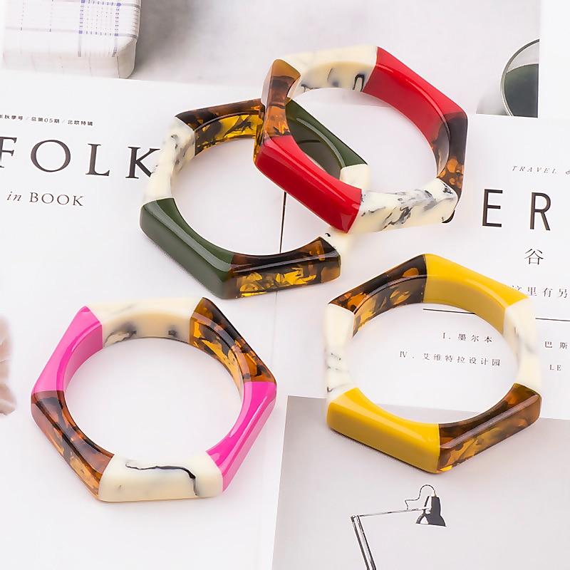 d62704dcf74 ... Trendy Acrylic Fashion Cuff Bracelets Bangles for Women Mix Colors  Hexagon Geometric Resin Simple Bracelet Charm