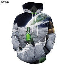 KYKU Brand Beer Hoodie Men Galaxy Space Print Earth Hooded Casual Astronaut 3d Printed Moon Hoody Anime Long Sleeve
