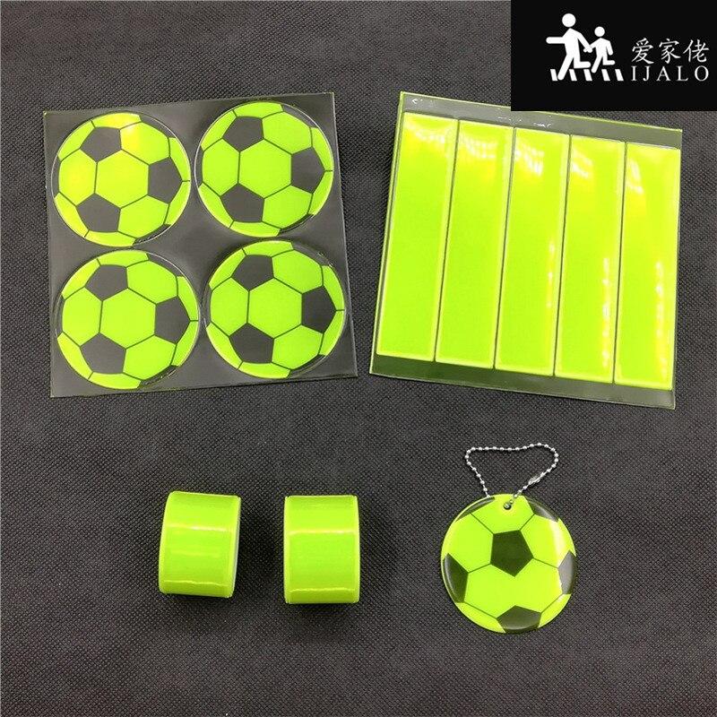Lime football Reflective set reflective sticker pendant bracelets for visibility safety use riding safe