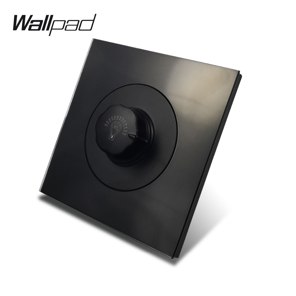 L6 Black Tempered Glass Panel Single Brightness Dimmer Light Switch 1 Gang