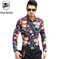 Fire Kirin Hawaiian Shirt Men 2017 Luxury Mens Fancy Shirts 6XL 7XL Plus Size Camisa Masculina Long Sleeved Chemise Homme T183