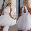 Hot Sale Tulle Beaded Pleat High Neck Backless Ball Gown Mini Short Modest Cheap Cute White Homecoming Dresses 2017