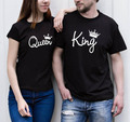 2016 New Arrivals Summer Black Couple Clothes King Queen Letter Printed T-shirts O Neck Short Sleeve Top Tees Plus Size Qa36