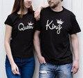 2016 New Arrivals Verão Preto Casal Roupas Carta da Rainha do Rei impresso Camisetas O Pescoço Manga Curta Top Tees Plus Size Qa36