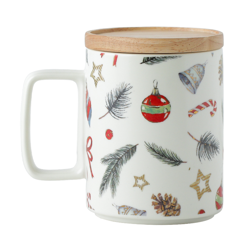 Christmas retro pine needles beige coffee mug personalized ceramics pine cones breakfast cup with lid gift box free shipping