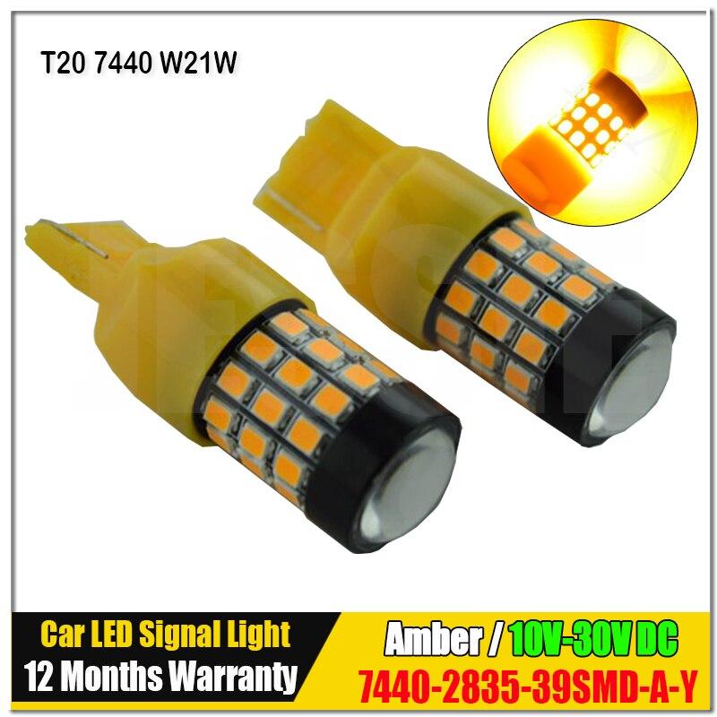 2x Super Bright High Power 39 SMD 2835 Chip T20 7440 w21w Yellow Amber Led Bulb Car Brake Reverse Turn Signal Light Source