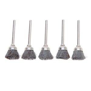 Image 1 - 10 pièces en acier inoxydable fil roue brosses ensemble Kit Dremel accessoires pour Mini perceuse outils rotatifs polissage dremel brosse