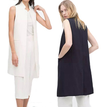 Summer Fashion Long Pockets Turn-down Collar Open Stitch Sleeveless Pantone Blue Pink Beige Black Blazer Vest Jackets